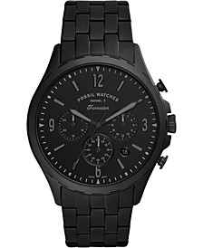 Men's Chronograph Forrester Black-Tone Stainless Steel Bracelet Watch 46mm