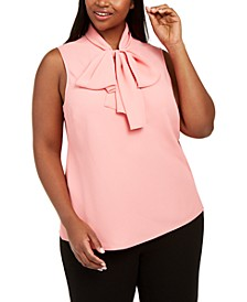 Trendy Plus Size Solid Tie-Neck Sleeveless Blouse, Created For Macy's