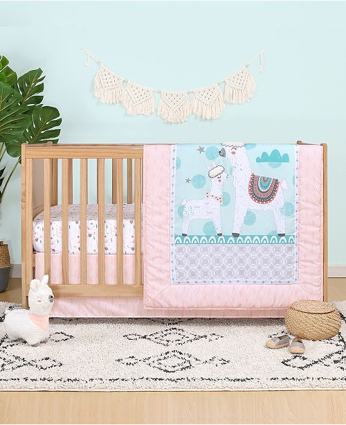Belle Llama Love 4-Piece Crib Bedding Set