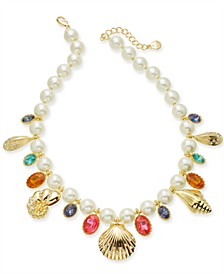 "Gold-Tone Pavé Shell & Stone Charm Imitation Pearl Beaded Statement Necklace, 17"" + 2"" extender, Created for Macy's"