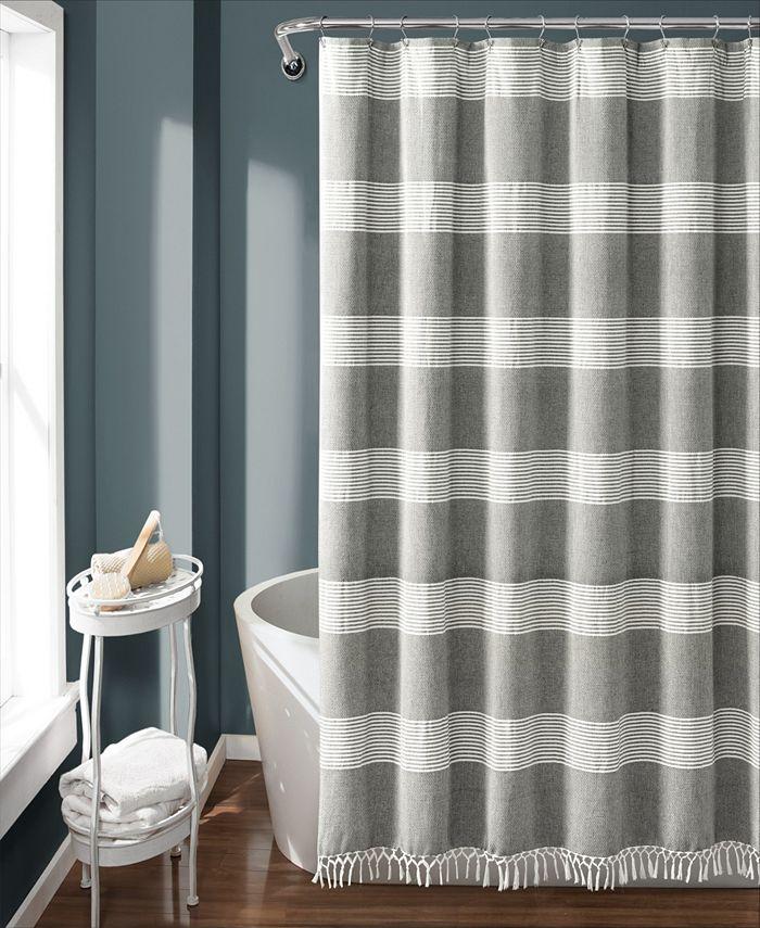 "Lush Décor - Tucker Stripe Yarn Dyed Cotton 72"" x 72"" Shower Curtain"