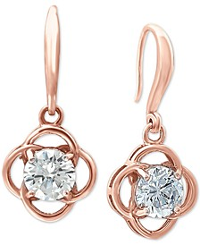 Cubic Zirconia Flower Drop Earrings in 18k Rose Gold-Plated Sterling Silver