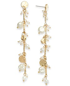 INC Gold-Tone Disc & Imitation Pearl Shaky Linear Drop Earrings, Created for Macy's