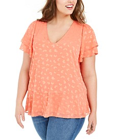 Plus Size Textured Flutter-Sleeve Top