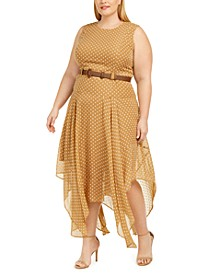 Plus Size Belted Printed Handkerchief-Hem Dress