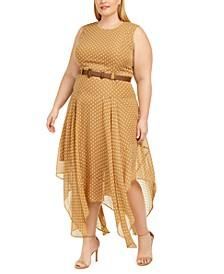 Plus Size Belted Printed Handkerchief-Hem Dress