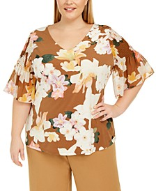 Plus Size Printed Flutter-Sleeve Top