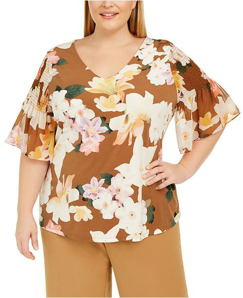 Calvin Klein Plus Size Printed Flutter-Sleeve Top