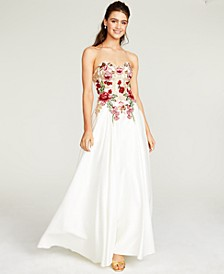 Juniors' Embroidered-Front Corset-Back Ball Gown
