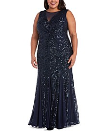 Plus Size Allover-Sequin Gown