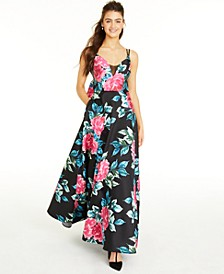 Juniors' Bow-Back Floral-Print Gown