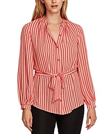 Geo-Print Button-Down Belted Tunic Top