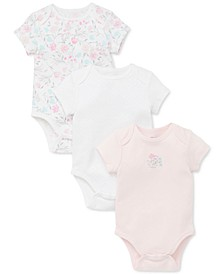Baby Girls 3-Pk. Cotton Floral Bodysuits