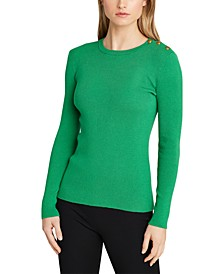 Petite Ribbed Cotton-Blend Sweater
