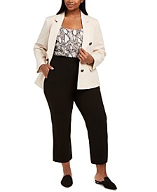 Trendy Plus Size Faux Double-Breasted Jacket, Snake-Print Camisole & Ankle Dress Pants, Created for Macy's