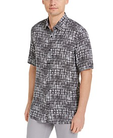 Aflani Men's Hatch Paint Print Shirt, Created For Macy's