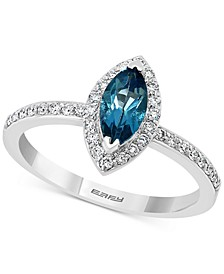 EFFY® London Blue Topaz (5/8 ct. t.w.) & Diamond (1/4 ct. t.w.) Marquise Halo Ring in 14k White Gold