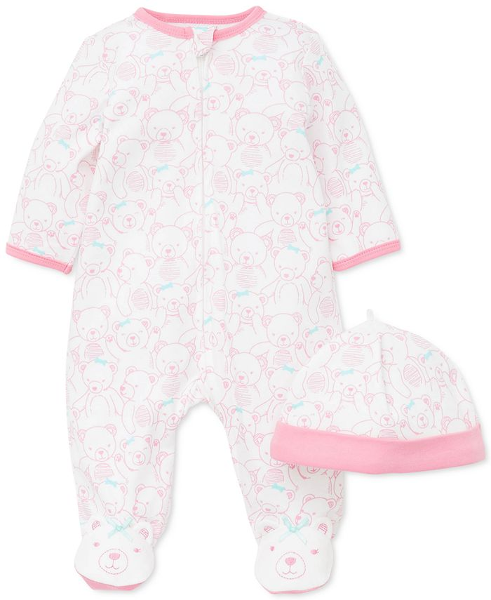 Little Me - Baby Girls 2-Pc. Cotton Teddy-Print Hat & Footed Coverall