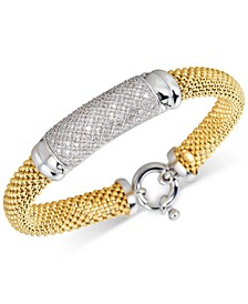 Diamond Pavé Dew Drop Mesh Bracelet (3/4 ct. t.w.) in Two-Tone Vermeil
