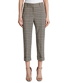 Petite Cropped Plaid Mid-Rise Dress Pants