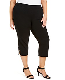 Plus Size Embellished Pull-On Capri Pants, Created for Macy's