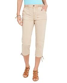 Petite Tie-Hem Utility Capri Pants, Created for Macy's