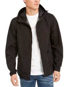 Hawke & Co. Men's All-season Lightweight Stretch Hooded Rain Jacket In Black