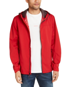 Hawke & Co. Men's All-season Lightweight Stretch Hooded Rain Jacket In Chilli Pepper