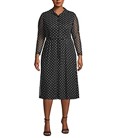 Plus Size Dot-Print Sheer-Sleeve Dress