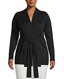 Plus Size Shawl-Collar Tie-Waist Cardigan