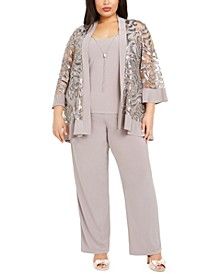 Plus Size 2-Pc. Sequined Jacket Top & Straight-Leg Pants