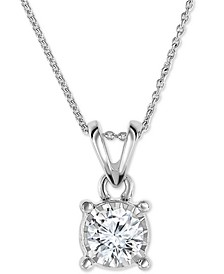 "Diamond 18"" Pendant Necklace (1/2 ct. t.w.) in 14k White, Yellow, or Rose Gold"