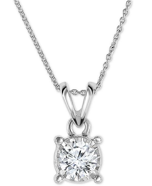 "TruMiracle Diamond 18"" Pendant Necklace (1/2 ct. t.w.) in 14k White, Yellow, or Rose Gold"