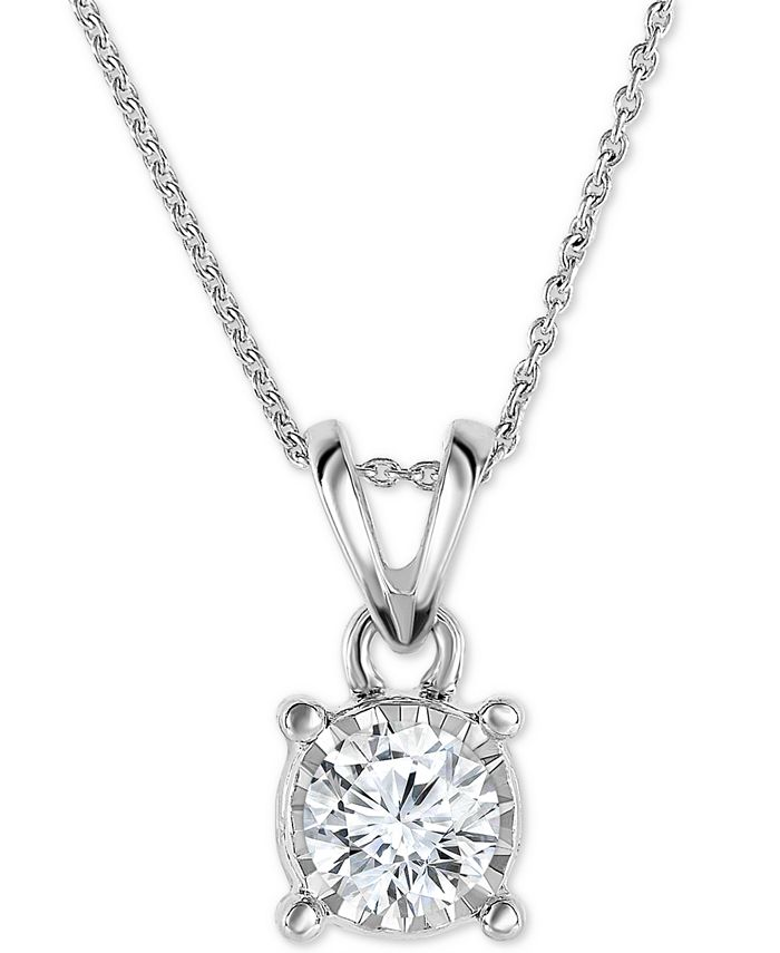 """TruMiracle - Diamond Solitaire 18"""" Pendant Necklace (1/2 ct. t.w.) in 14k White, Yellow, or Rose Gold"""