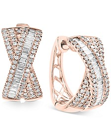EFFY® Diamond Baguette Crossover Hoop Earrings (5/8 ct. t.w.) in 14k Rose Gold