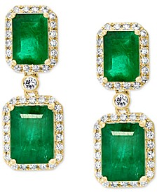 EFFY® Emerald (4-3/4 ct. t.w.) & Diamond (3/8 ct. t.w.) Halo Drop  Earrings in 14k Gold