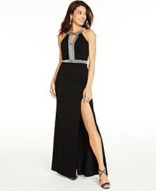 Juniors' Strappy Glitter-Trim Gown