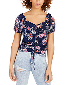 Crave Fame Juniors' Ruched Floral-Print Crop Top