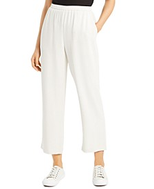 Silk Pull-on Straight Ankle Pants