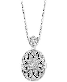 "Diamond Floral Locket 20"" Pendant Necklace  (1/4 ct. t.w.) in Sterling Silver"