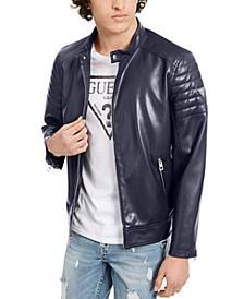 Men's Faux Leather Moto Bomber Jacket