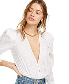 Danielle Bernstein Deep V-Neck Bodysuit, Created for Macy's