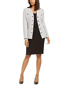 Paris Tweed Button Blazer And Belted Pencil Skirt
