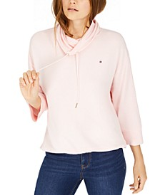 Drawstring Cowl-Neck Sweatshirt
