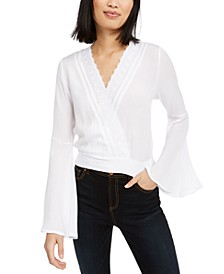 Juniors' Lace Trim Surplice Top