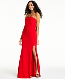 Juniors' Strapless Slit Dress