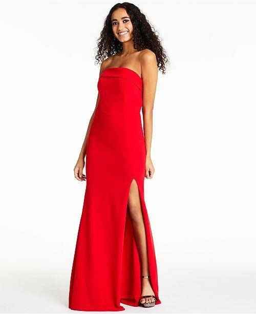 Crystal Doll Juniors' Strapless Slit Dress
