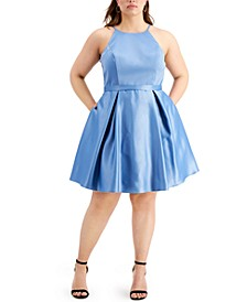Trendy Plus Size Satin Skater Dress