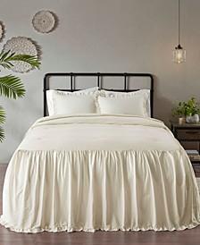 Juliet 3 Piece King Cotton Ruffle Skirt Bedspread Set
