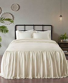 Juliet 3 Piece Queen Cotton Ruffle Skirt Bedspread Set